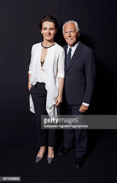 Designer Giorgio Armani and actress Juliette Binoche are photographed for Madame Figaro on July 8 2014 in Paris France PUBLISHED IMAGE CREDIT MUST...