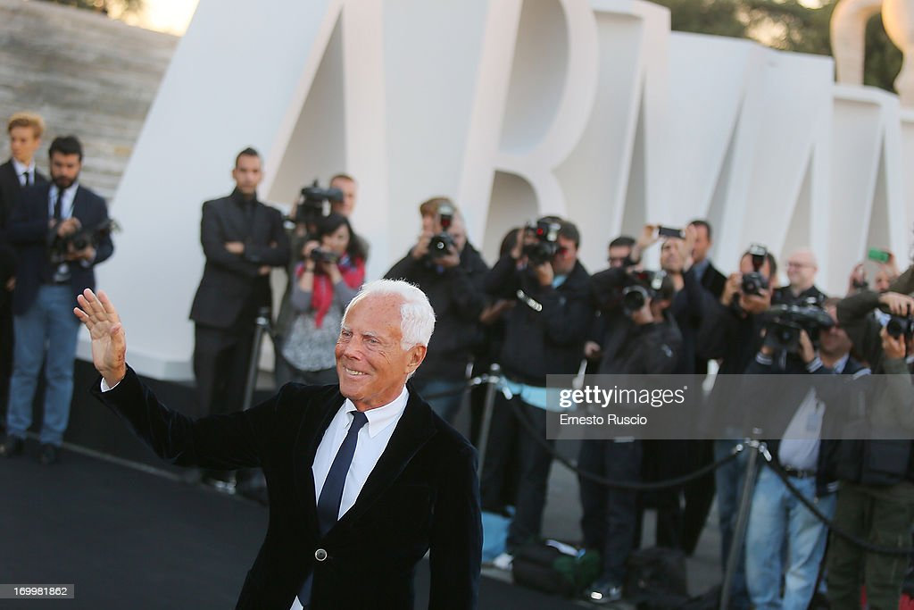 Designer Giorgio Armani attends 'One Night Only' hosted by Giorgio Armani at Museo Della Civilta Del Lavoro in Roma on June 5, 2013 in Rome, Italy.
