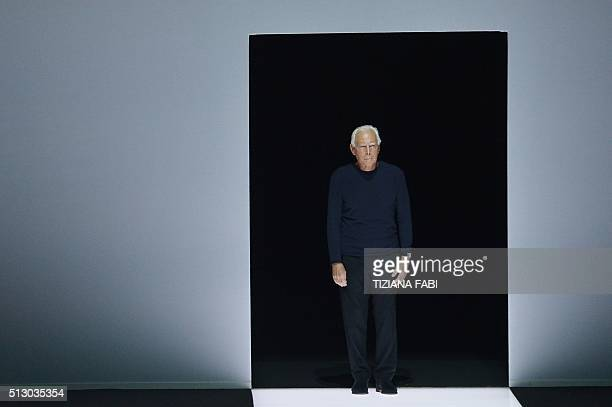 Designer Giorgio Armani greets the audience at the end of his show as part of the Women Autumn / Winter 2016 Milan Fashion Week on February 29 2016...