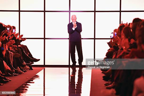 Designer Giorgio Armani is seen on the runway during the Giorgio Armani Prive Spring Summer 2017 show as part of Paris Fashion Week on January 24...