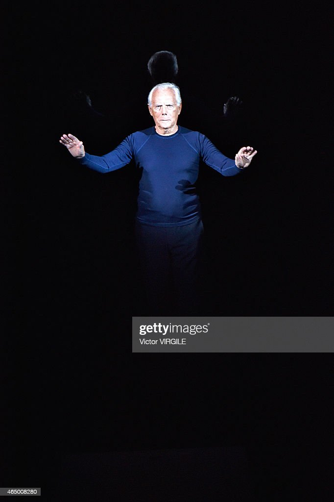 Designer Giorgio Armani walks the runway at the Giorgio Armani show during the Milan Fashion Week Autumn/Winter 2015 on March 2 2015 in Milan Italy