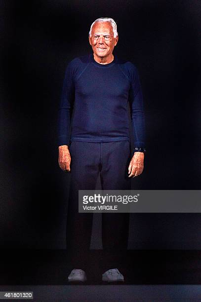 Designer Giorgio Armani walks the runway during the Emporio Armani show as a part of Milan Menswear Fashion Week Fall Winter 2015/2016 on January 19...
