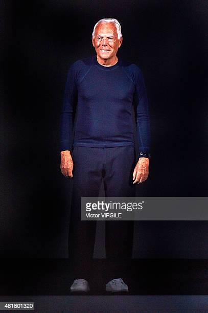 Designer Giorgio Armani walks the runway during the Emporio Armani show as a part of Milan Menswear Fashion Week Fall Winter 2015/2016 on January 19...