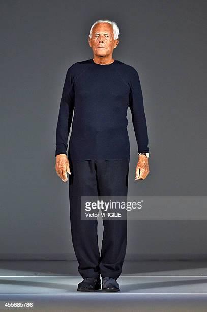 Designer Giorgio Armani walks the runway during the Giorgio Armani Ready to Wear show as a part of Milan Fashion Week Womenswear Spring/Summer 2015...