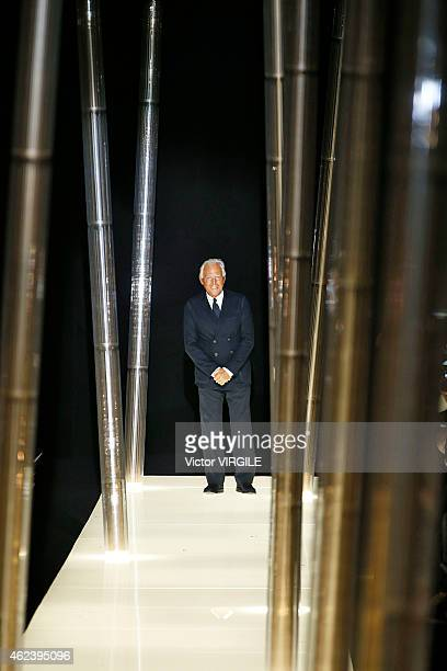 Designer Giorgio Armani walks the runway during the Giorgio Armani Prive show as part of Paris Fashion Week Haute Couture Spring/Summer 2015 on...