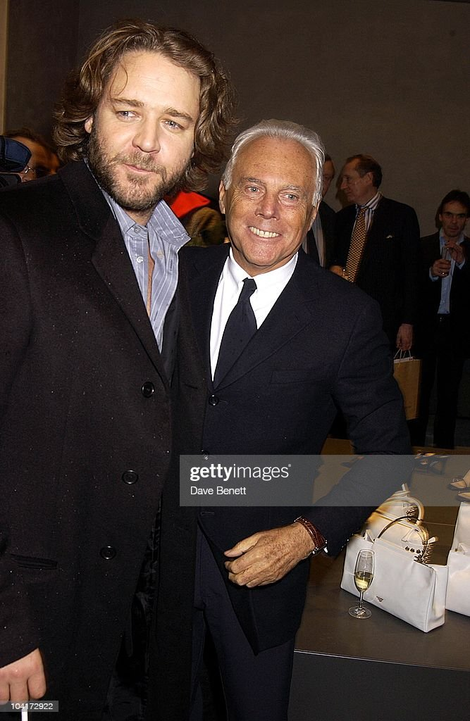 Designer Giorgio Armani With Russell Crowe, Russell Crowe Oscar Nomination Cocktail & Dinner Party, New Giorgio Armani Shop, Bond Street & Supper & Hakkasan, London.