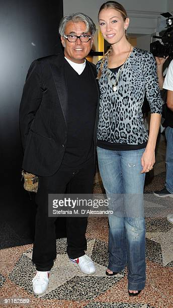 Designer Giuseppe Zanotti and Eleonora Abbagnato attend the presentation of Vicini Spring/Summer Collection as part of Milan Fashion Week on...