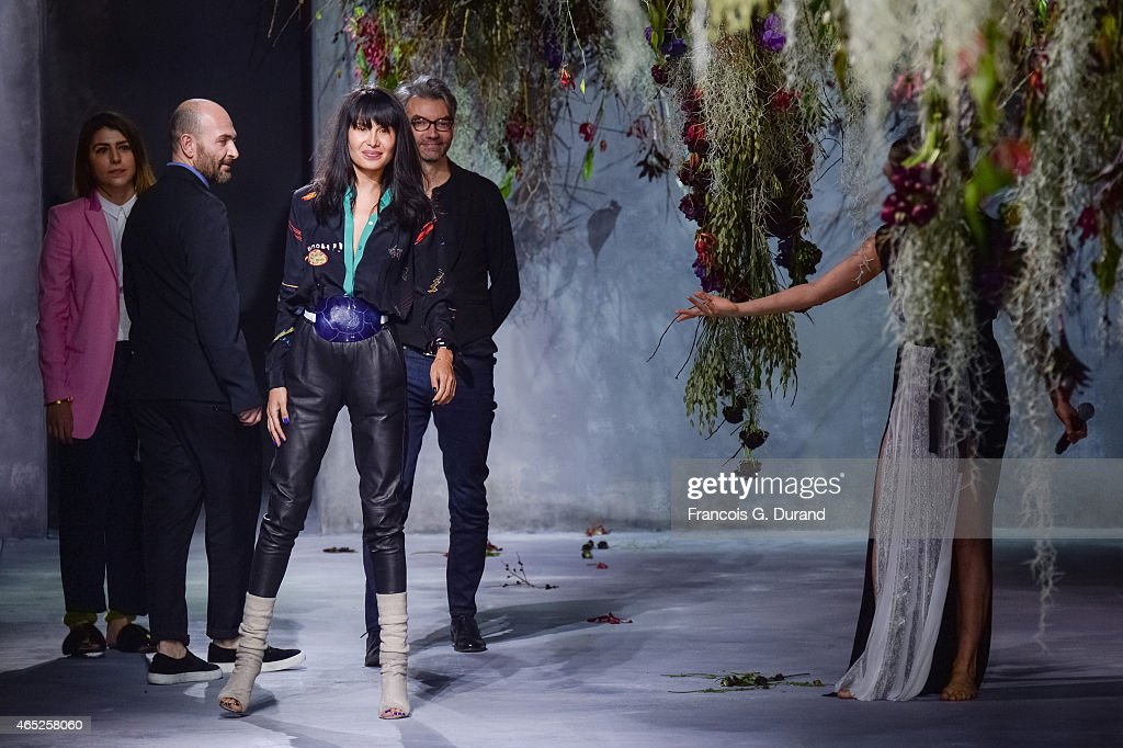 Designer Goga Ashkenazi appears on the catwalk after the Vionnet show as part of the Paris Fashion Week Womenswear Fall/Winter 2015/2016 on March 4...