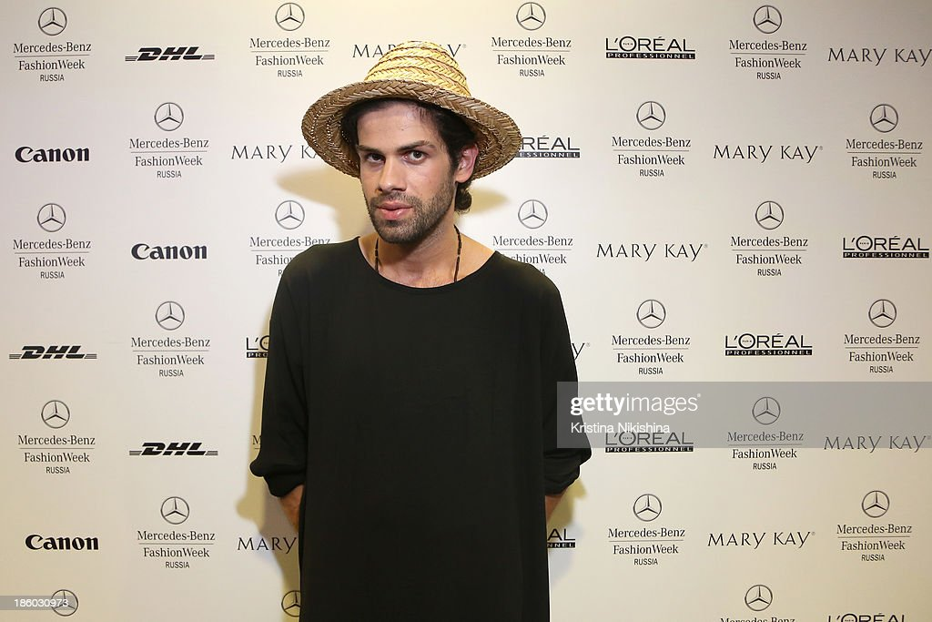 Designer Goga Nikabadze attends the Mercedes-Benz Fashion Week Russia S/S 2014 on October 27, 2013 in Moscow, Russia.