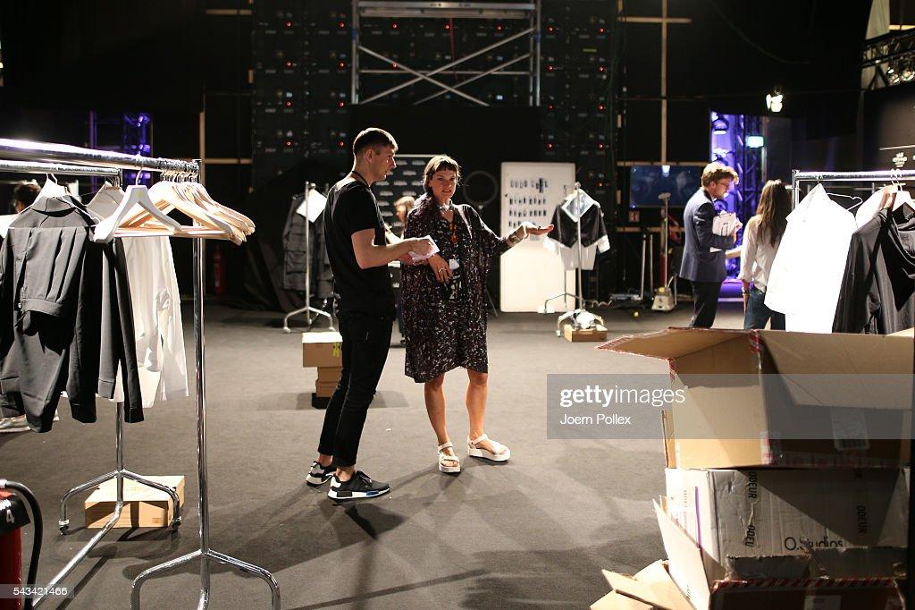Designer Gorjan Lauseger is seen backstage ahead of the Odeur show during the Mercedes-Benz Fashion Week Berlin Spring/Summer 2017 at Erika Hess Eisstadion on June 28, 2016 in Berlin, Germany.