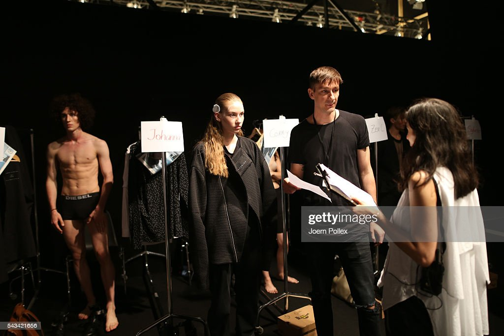 Designer Gorjan Lauseger is seen backstage ahead of the Odeur show during the Mercedes-Benz Fashion Week Berlin Spring/Summer 2017 at Erika Hess Eisstadion on June 28, 2016 in Berlin, Germany.