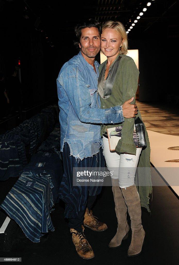 Designer Greg Lauren and actress Malin Akerman attend Greg Lauren presentation Spring 2016 New York Fashion Week The Shows at The Dock Skylight at...