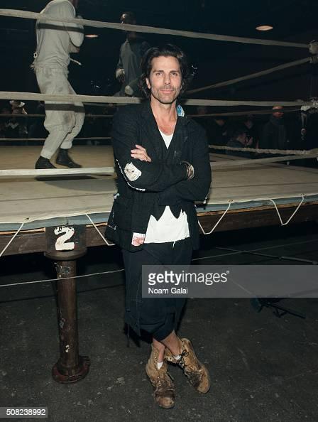 Designer Greg Lauren poses at the Greg Lauren presentation during New York Fashion Week Men's Fall/Winter 2016 at ArtBeam on February 3 2016 in New...