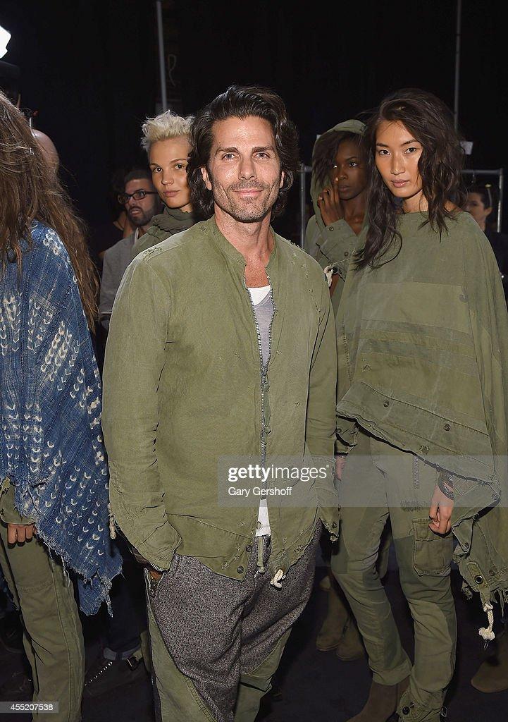 Designer Greg Lauren poses backstage at the Greg Lauren presentation during MercedesBenz Fashion Week Spring 2015 at on September 10 2014 in New York...