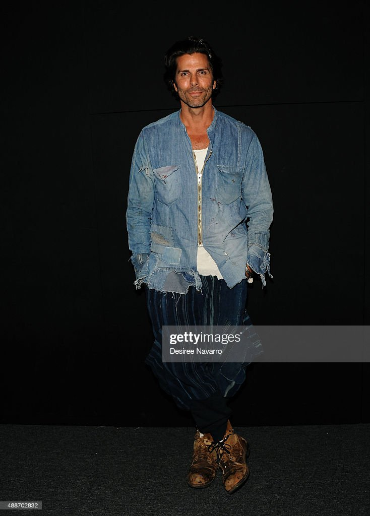 Designer Greg Lauren poses backstage during Greg Lauren presentation Spring 2016 New York Fashion Week The Shows at The Dock Skylight at Moynihan...