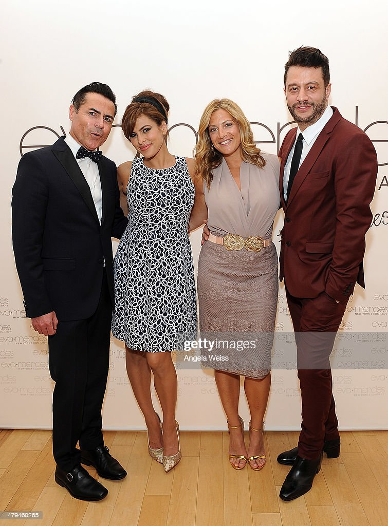 Designer Greg Scott, actress <a gi-track='captionPersonalityLinkClicked' href=/galleries/search?phrase=Eva+Mendes&family=editorial&specificpeople=194937 ng-click='$event.stopPropagation()'>Eva Mendes</a>, Marielle Gelber, director of public relations New York & Company and <a gi-track='captionPersonalityLinkClicked' href=/galleries/search?phrase=Alejandro+Blanco&family=editorial&specificpeople=4666881 ng-click='$event.stopPropagation()'>Alejandro Blanco</a> attend the launch of <a gi-track='captionPersonalityLinkClicked' href=/galleries/search?phrase=Eva+Mendes&family=editorial&specificpeople=194937 ng-click='$event.stopPropagation()'>Eva Mendes</a> for NY&C Spring 2014 collection with a pop-up shop at The Beverly Center on March 18, 2014 in Los Angeles, California.