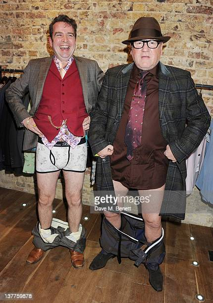 Designer Gresham Blake and actor Ray Winstone attend the launch of the new Gresham Blake boutique on January 25 2012 in London England