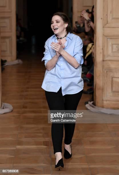 Designer Gulcin Cengel on the runway at the Gulcin Cengel show during MercedesBenz Istanbul Fashion Week March 2017 at Grand Pera on March 24 2017 in...