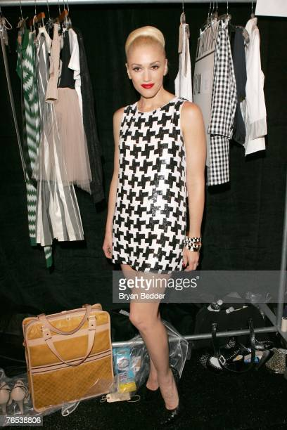Designer Gwen Stefani backstage before the LAMB Spring 2008 Fashion Show at The Tent in Bryant Park during the MercedesBenz Fashion Week Spring 2008...