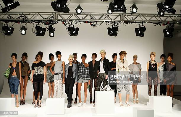 Designer Gwen Stefani poses at the LAMB presentation of spring 2010 fashions at the Milk Studios during MercedesBenz Fashion Week at Bryant Park on...