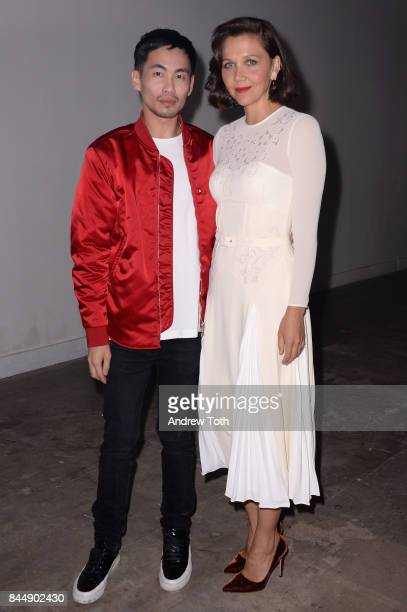 Designer Han Chong and actress Maggie Gyllenhaal attend the SelfPortrait Spring Summer 2018 Front Row during New York Fashion Week on September 9...