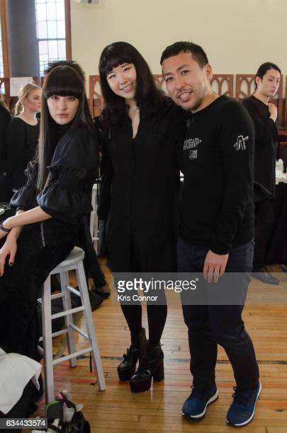 Designer Hanako Maeda and Sada Ito of NARS pose for a photo backstage during the Adeam fashion show during New York Fashion Week at The Highline...