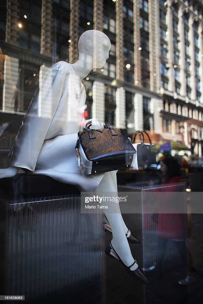 A designer handbag is displayed in a storefront on Broadway in Manhattan on February 13, 2013 in New York City. The Commerce Department reported that retail sales were only up slightly in January following tax increases and high gas prices.