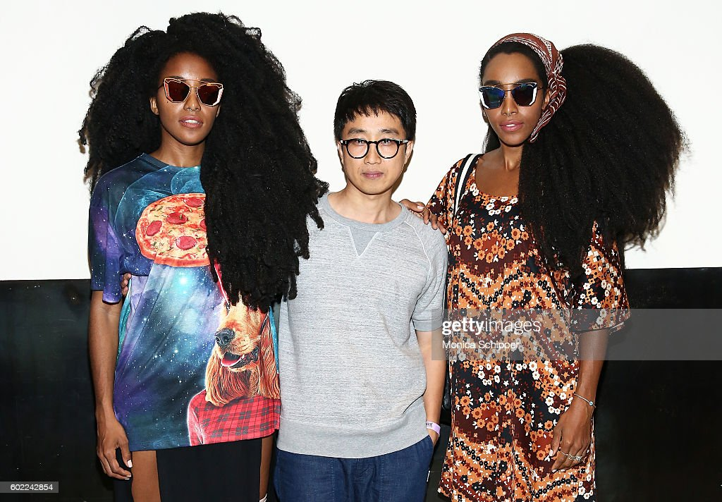 Designer Hankook Kim (C) poses for a photo with Cipriana Quann and TK Quann backstage at the Gentle Monster fashion show during MADE Fashion Week September 2016 at Milk Studios on September 10, 2016 in New York City.