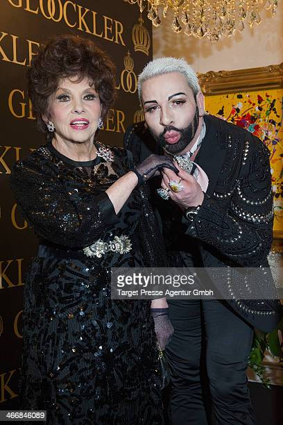 Designer Harald Gloeoeckler and Gina Lollobrigida celebrate their 20 years of friendship at the Harald Gloeoeckler Gallery on February 4 2014 in...