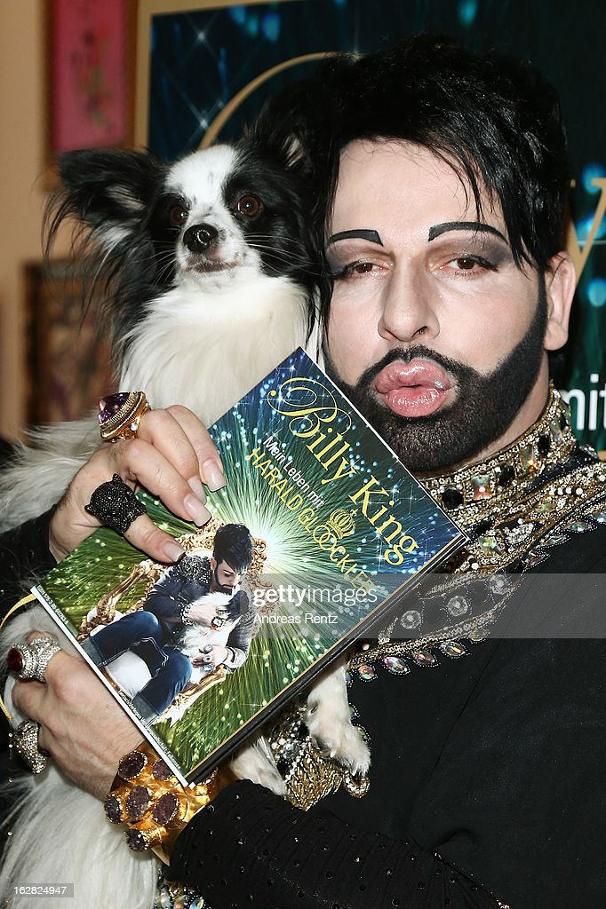 Designer Harald Gloeoeckler and his dog Billy King present their book 'Billy King - Mein Leben mit Harald Gloeoeckler' on February 28, 2013 in Berlin, Germany.
