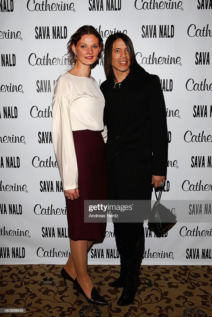 Designer Inna Thomas and Jorge Gonzalez pose at the Sava Nald show during the Mercedes-Benz Fashion Week Autumn/Winter 2014/15 at Hotel Adlon on January 14, 2014 in Berlin, Germany.