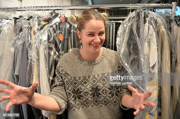 Designer Ioana Ciolacu is seen backstage ahead of the Ioana Ciolacu show during the MercedesBenz Fashion Week Berlin Autumn/Winter 2015/16 at...