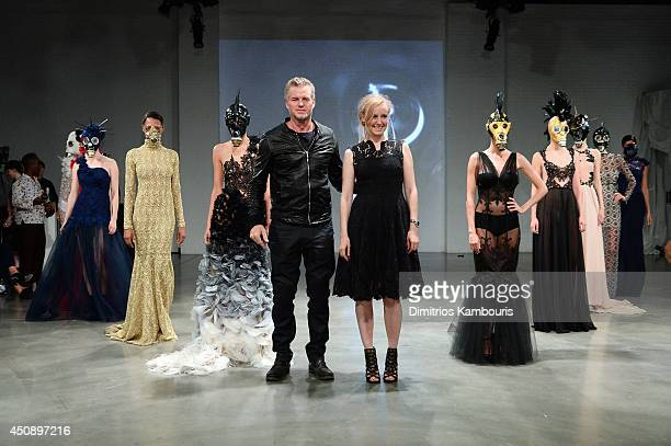 Designer Irene Luft appears with actor Eric Dane on the runway at The Last Ship Survival Is An Art at DIA 545 on June 19 2014 in New York City JPG