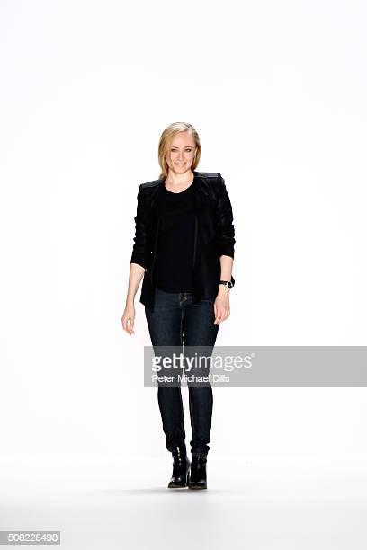 Designer Irene Luft attends her show during the MercedesBenz Fashion Week Berlin Autumn/Winter 2016 at Brandenburg Gate on January 22 2016 in Berlin...