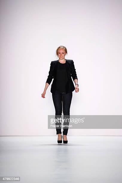 Designer Irene Luft on the runway at the Irene Luft show during the MercedesBenz Fashion Week Berlin Spring/Summer 2016 at Brandenburg Gate on July 8...