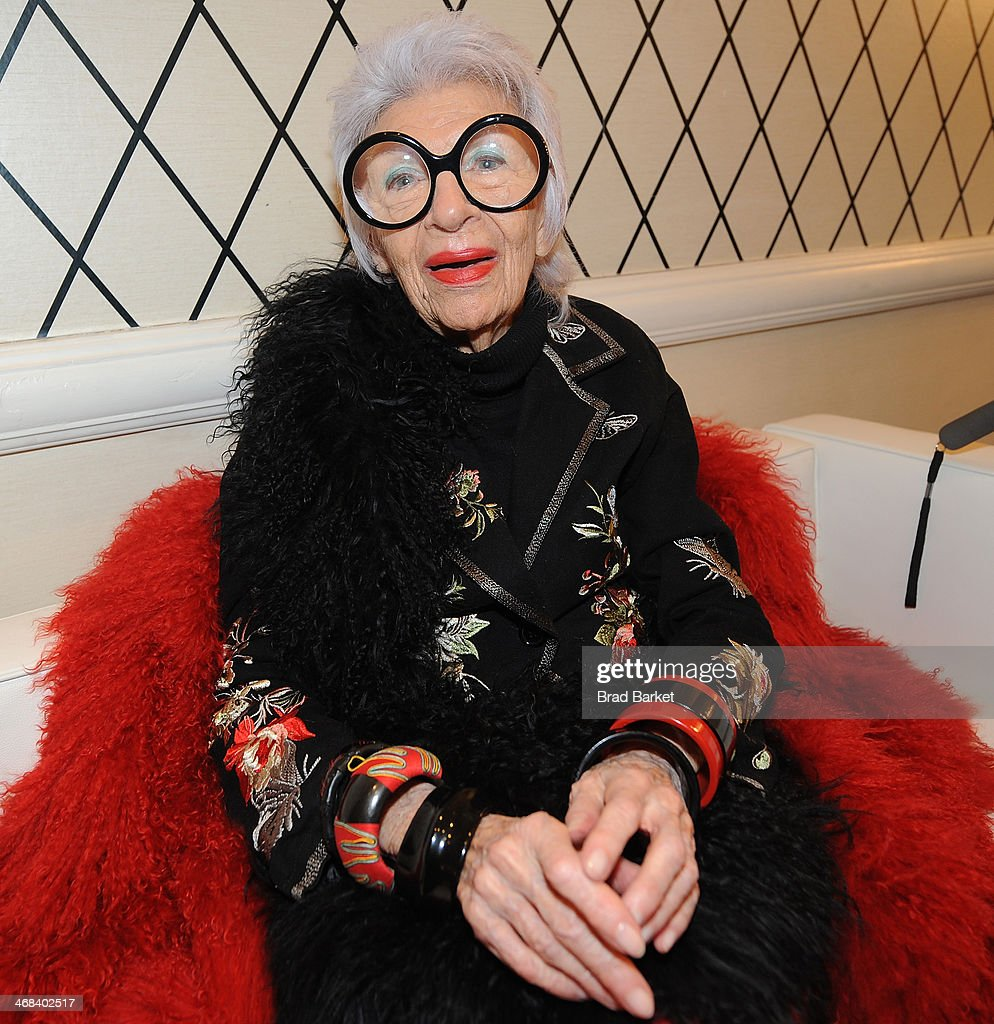 Designer <a gi-track='captionPersonalityLinkClicked' href=/galleries/search?phrase=Iris+Apfel&family=editorial&specificpeople=612628 ng-click='$event.stopPropagation()'>Iris Apfel</a> attends the HSN Fashion Week Lounge At The Empire Hotel on February 10, 2014 in New York City.