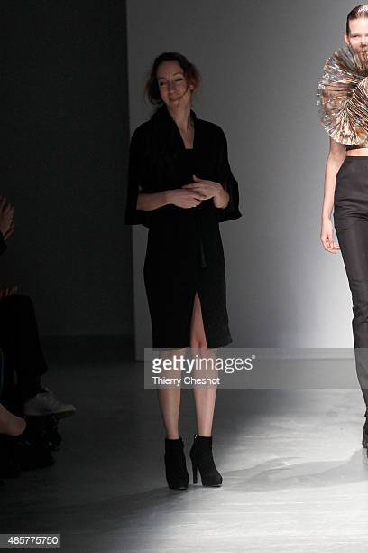 Designer Iris Van Herpen the runway during the Iris Van Herpen show as part of the Paris Fashion Week Womenswear Fall/Winter 2015/2016 on March 10...