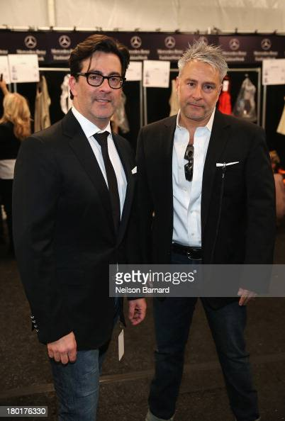Designer Isaac Franco and Ken Kaufman backstage at the Kaufmanfranco fashion show during MercedesBenz Fashion Week Spring 2014 at The Theatre at...