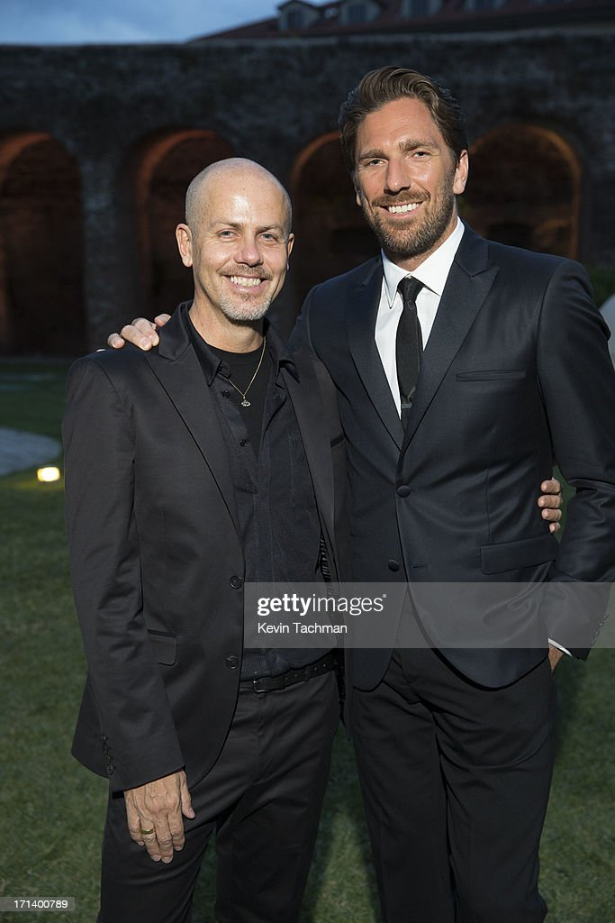 Designer Italo Zucchelli, left, and Henrik Lundqvist attend the dinner to celebrate Italo Zucchelli's ten years as Calvin Klein Collection's mens creative director on June 23, 2013 in Milan, Italy.
