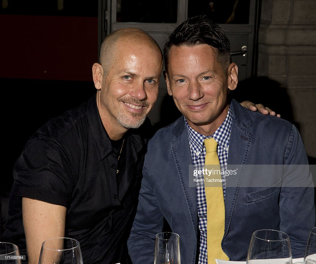 Designer Italo Zucchelli, left, and Jim Nelson attend the dinner to celebrate Italo Zucchelli's ten years as Calvin Klein Collection's mens creative director on June 23, 2013 in Milan, Italy.