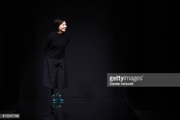 Designer Izumi Ogino acknowledges the applause of the audience at the Anteprima show during Milan Fashion Week Fall/Winter 2016/17 on February 25...