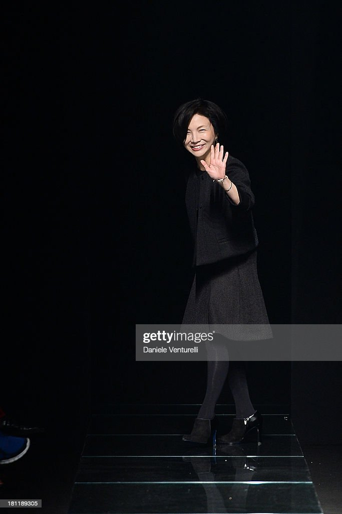 Designer Izumi Ogino aknowledge the applause of the public after the Anteprima fashion show during as a part of Milan Fashion Week Womenswear Spring/Summer 2014 on September 19, 2013 in Milan, Italy.