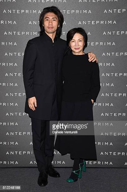 Designer Izumi Ogino and artist Tsuchida Yasuhiko attend the Anteprima show during Milan Fashion Week Fall/Winter 2016/17 on February 25 2016 in...