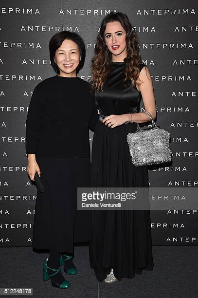 Designer Izumi Ogino and Gresy Daniilidis attend the Anteprima show during Milan Fashion Week Fall/Winter 2016/17 on February 25 2016 in Milan Italy