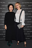 Designer Izumi Ogino and Justine Mattera attend the Anteprima show during Milan Fashion Week Fall/Winter 2016/17 on February 25 2016 in Milan Italy