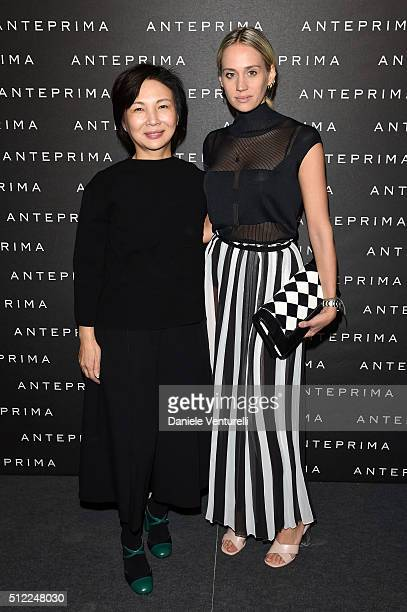 Designer Izumi Ogino and Rebecca Larsson attend the Anteprima show during Milan Fashion Week Fall/Winter 2016/17 on February 25 2016 in Milan Italy