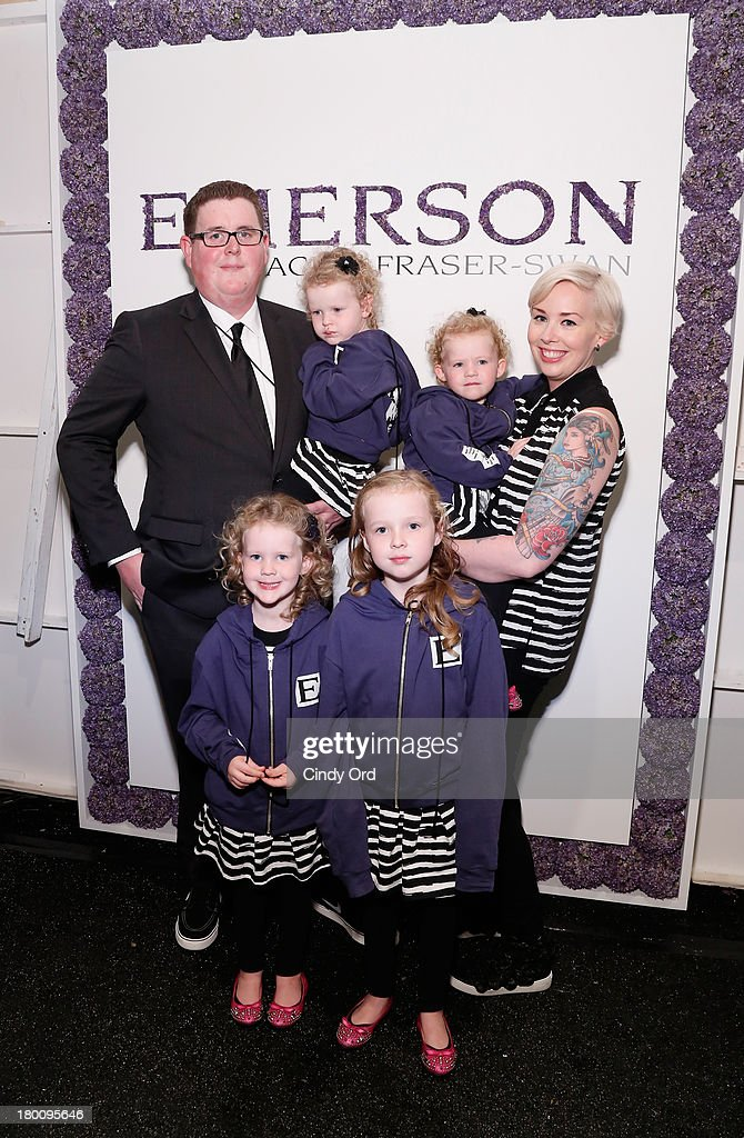 Designer Jackie Fraser-Swan, Brian Swan pose with her children, Lucy, Reagan, Aubrey and Sydney backstage at the Emerson By Jackie Fraser-Swan fashion show during Mercedes-Benz Fashion Week Spring 2014 at The Studio at Lincoln Center on September 8, 2013 in New York City.