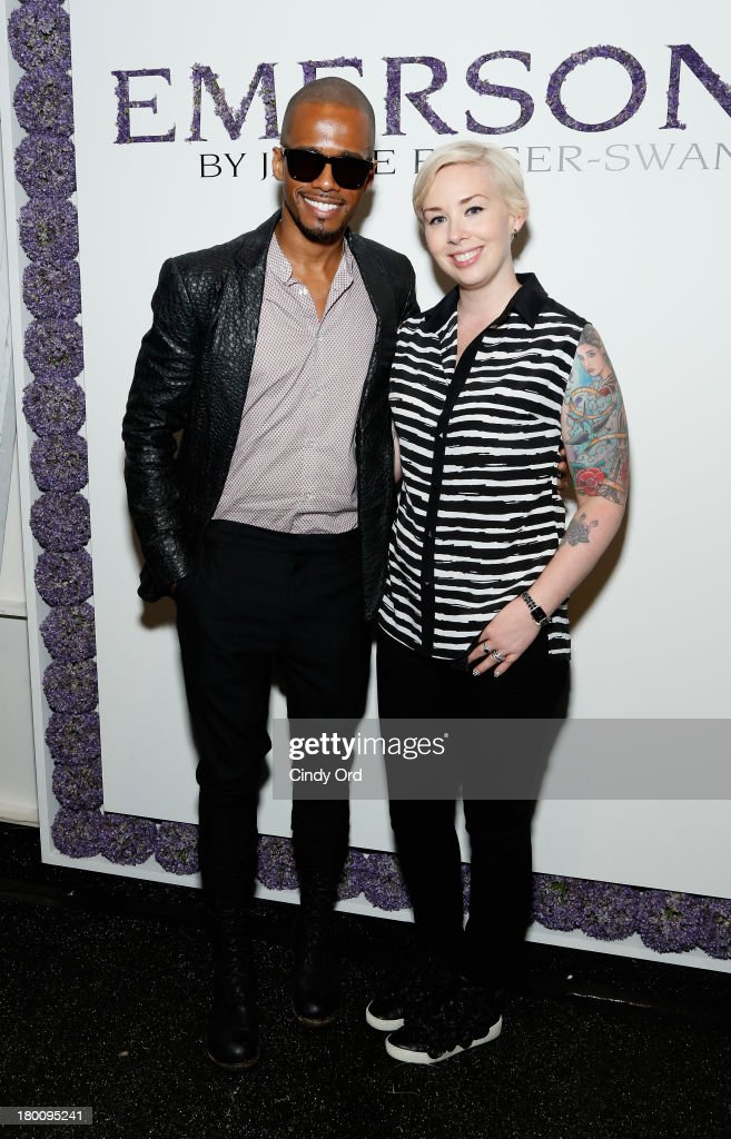 Designer Jackie Fraser-Swan (R) poses with actor Eric West at the Emerson By Jackie Fraser-Swan fashion show during Mercedes-Benz Fashion Week Spring 2014 at The Studio at Lincoln Center on September 8, 2013 in New York City.