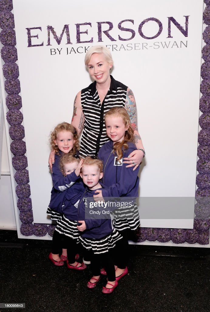 Designer Jackie Fraser-Swan poses with her children, Lucy, Reagan, Aubrey and Sydney backstage at the Emerson By Jackie Fraser-Swan fashion show during Mercedes-Benz Fashion Week Spring 2014 at The Studio at Lincoln Center on September 8, 2013 in New York City.