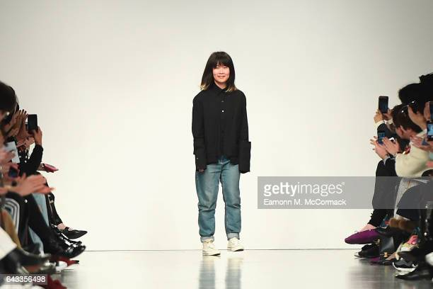 Designer Jackie Lee is seen on the runway at the J JS Lee show during the London Fashion Week February 2017 collections on February 21 2017 in London...